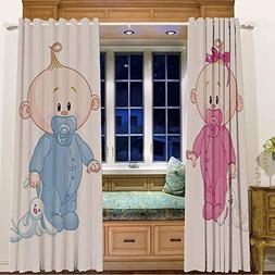 iPrint Finel Kids Curtains for Living Room Bedroom Window Cu