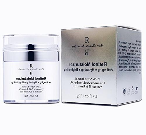 Retinol Moisturizer Cream , Hyaluronic Acid, E and Green Best Anti- and Time Cream FL
