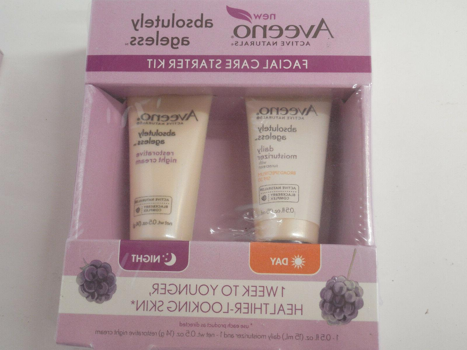 QTY 2-Aveeno ABSOLUTELY Facial Starter Kits Day/Night 4tubes