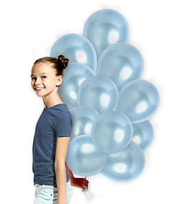 Pack of 100 Metallic Light Baby Blue 12 Inch Latex Balloons